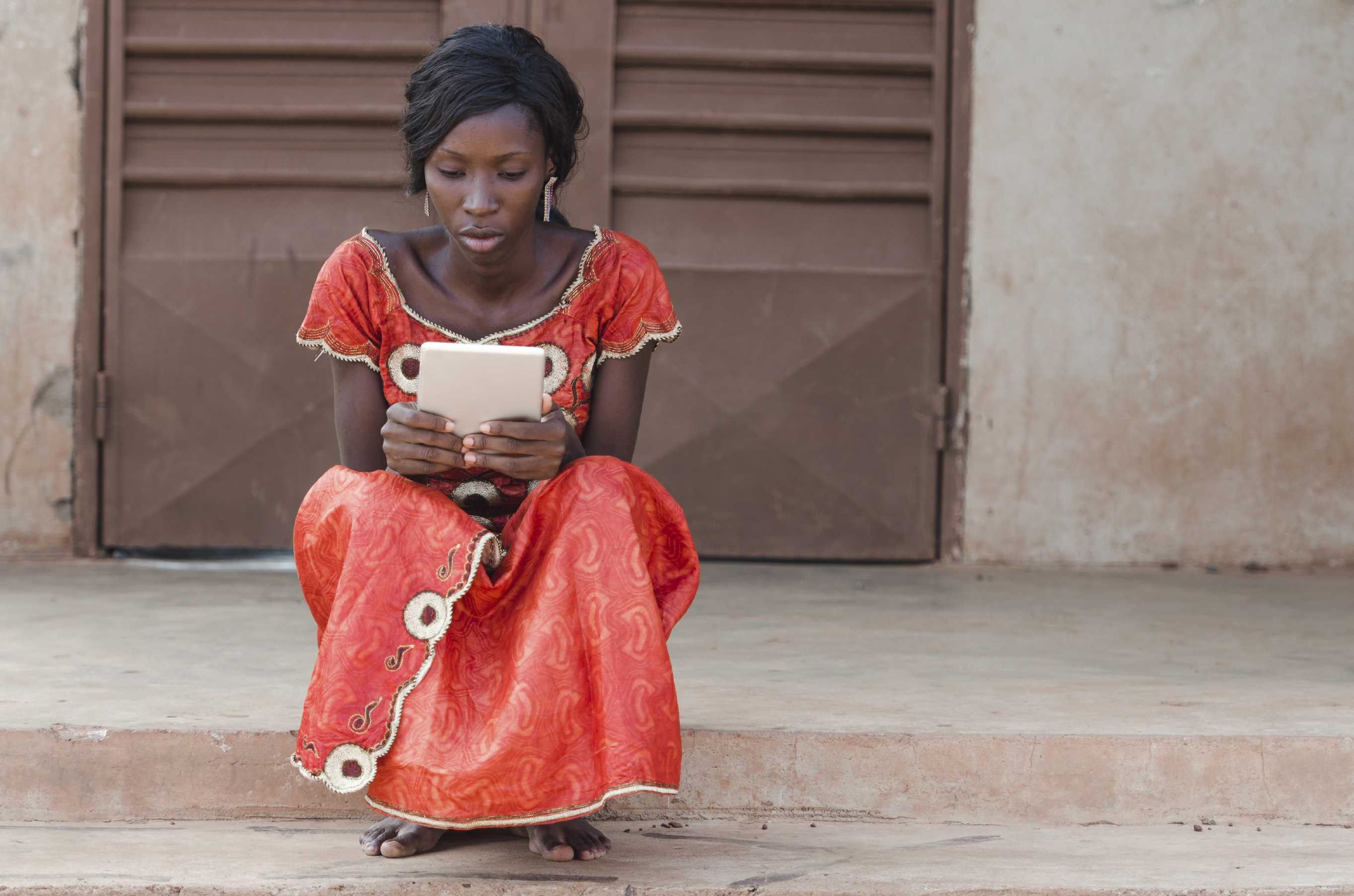 African girl with ipad
