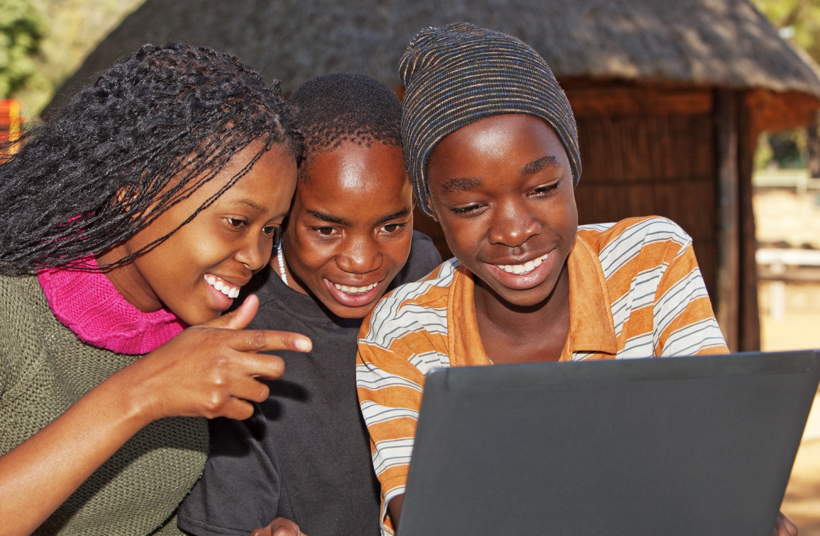 African kids with laptop